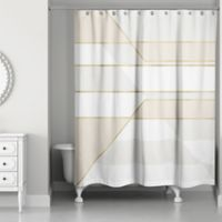 Color Block Shower Curtain in Ivory/Gold