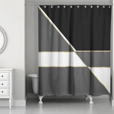 Gold Color Blocking Shower Curtain In Black White