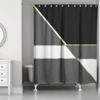 Gold Color Blocking Shower Curtain in Black/White