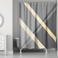 Mellow Color Block Stripes Shower Curtain in Grey/Yellow