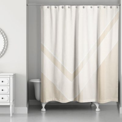 Perfect Color Block Shower Curtain In Ivory/Creme