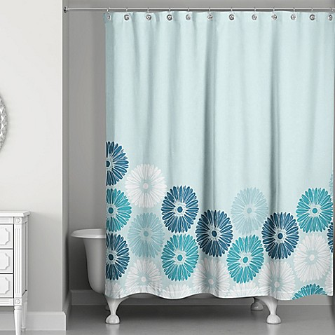 blossoms shower curtain in blue bed bath amp beyond hookless jacquard tree branch shower curtain in taupe