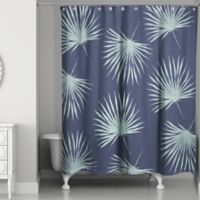 Leaves Shower Curtain in Navy/Green