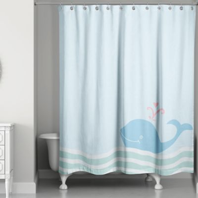 Whale Wave Shower Curtain In Blue