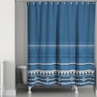 Tribal Geo Shower Curtain in Blue