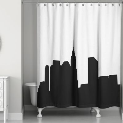 city skyline shower curtain in blackwhite