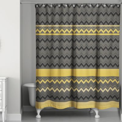 Chevron Stripes Shower Curtain In Black Gold