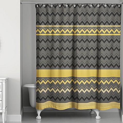 Chevron Stripes Shower Curtain In Black Gold Bed Bath