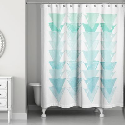 Sea Glass Triangles Shower Curtain In Blue/White