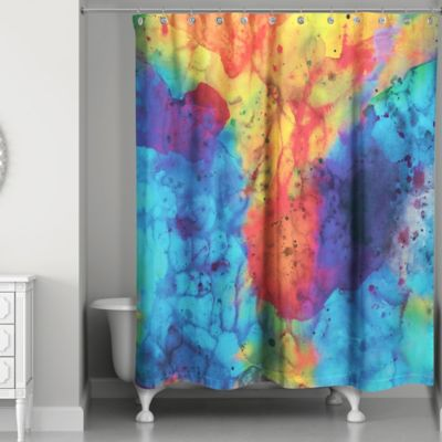 Watercolor Overture Shower Curtain In Blue Yellow