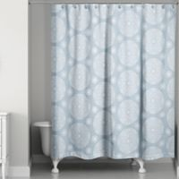 Medallions Shower Curtain in Soft Blue