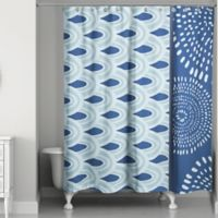 Tribal Color Block Shower Curtain in Blue