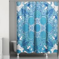 Big Mandala Gradient Shower Curtain in Blue