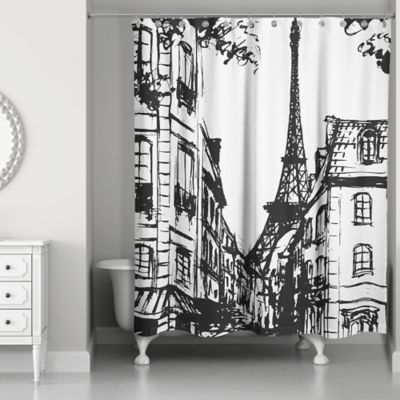 Monochromatic Paris Shower Curtain In Black White