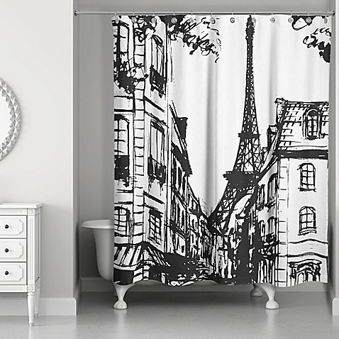 Monochromatic Paris Shower Curtain In Black White Bed
