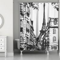 Monochromatic Paris Shower Curtain In Black White
