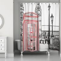 London Sketch Shower Curtain in Black/Red