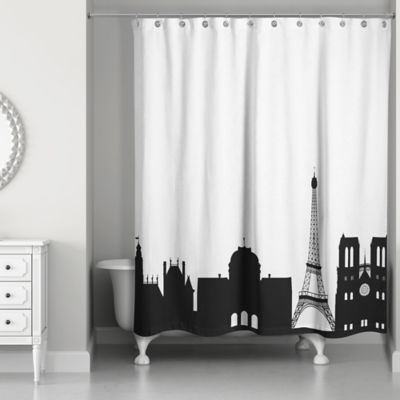 Paris Monuments Shower Curtain In Black White