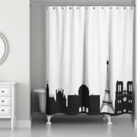 Paris Monuments Shower Curtain in Black/White