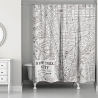 New York City Lines Map Shower Curtain in Black/White