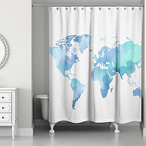 Watercolor World Shower Curtain In White Blue Bed Bath