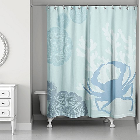 buy crab walk shower curtain in blue from bed bath amp beyond 85724