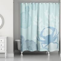 Crab Walk Shower Curtain in Blue