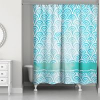Watercolor Waves Shower Curtain in Blue