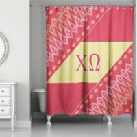 Chi Omega Shower Curtain In Red Yellow