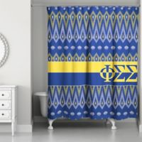 Phi Sigma Shower Curtain In Blue Yellow