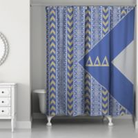Delta Shower Curtain In Blue Grey Gold