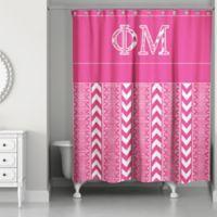Phi Mu Shower Curtain In Pink White