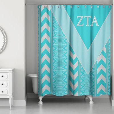 Zeta Tau Alpha Shower Curtain In Teal Grey