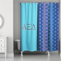 Alpha Xi Delta Shower Curtain in Royal Blue/Light Blue