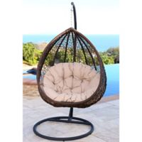 Abbyson Living® Newport Outdoor Wicker Swing Chair in Deep Brown/Yellow