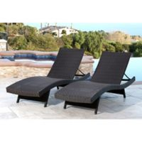 Abbyson Living® Redondo Outdoor Adjustable Wicker Chaise in Espresso (Set of 2)
