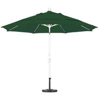 California Umbrella 11 Foot Round Polyester Fiberglass Rib Market Umbrella  In Forest Green