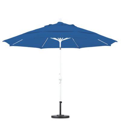 California Umbrella 11 Foot Round Polyester Fiberglass Rib Market Umbrella  In Pacific Blue