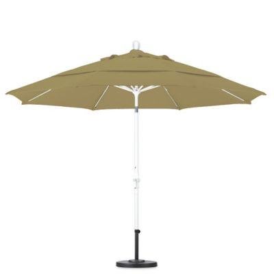 Elegant California Umbrella 11 Foot Round Polyester Fiberglass Rib Market Umbrella  In Heather Beige