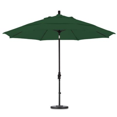 Beau California Umbrella 11 Foot Round Polyester Fiberglass Ribbed Umbrella In  Forest Green
