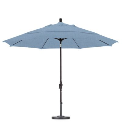 California Umbrella 11 Foot Round Polyester Fiberglass Ribbed Umbrella In  Air Blue