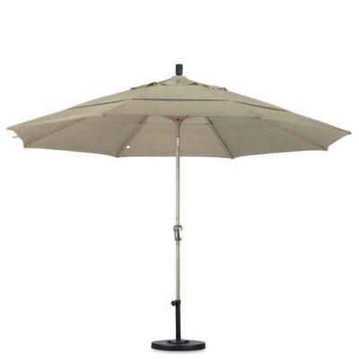 California Umbrella 11 Foot Auto Tilt Market Umbrella With Champagne Pole  In Antique Beige