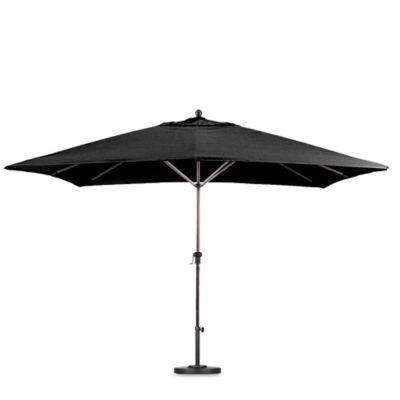 Superieur California 11 Foot Rectangle Aluminum Advanced Collar Tilt Market Umbrella  In Black