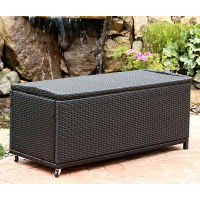 Abbyson Living® Pasadena Outdoor Wicker Storage Ottoman in Black - Buy Storage Ottoman Furniture From Bed Bath & Beyond