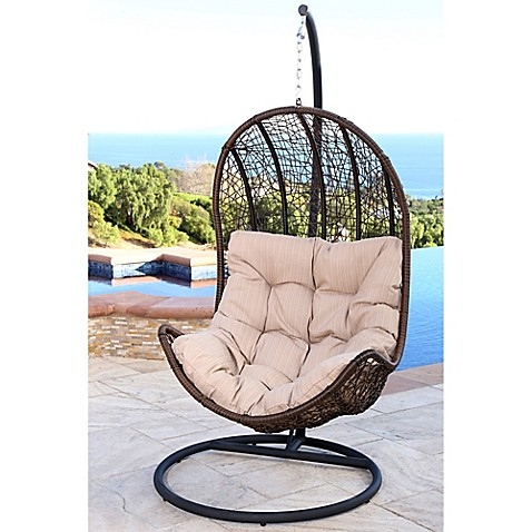 Abbyson Living 174 Newport Outdoor Wicker Egg Shaped Swing