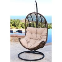 Abbyson Living® Newport Outdoor Wicker Egg-Shaped Swing Chair in Brown/Beige