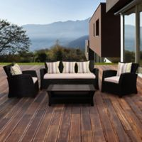 Atlantic Bellamy 4-Piece Wicker Seating Set in Black