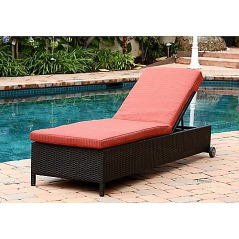Abbyson living ventura outdoor wicker chaise lounge with for Black chaise lounge outdoor