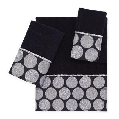 avanti dotted circle fingertip towel in black