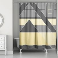 Color Blocking Shower Curtain in Grey/Yellow